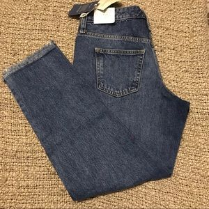 Women's high rise straight jeans slate blue